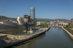 Ria del Nervion and of Guggenheim Bilbao museum stock photo