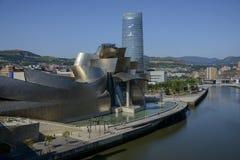 Ria del Nervion och av det Guggenheim Bilbao museet Royaltyfri Bild