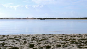 Ria Formosa conservation park view at Fuseta fishing town, Algarve. Portugal stock footage