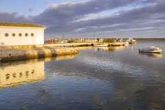 Ria Formosa natural conservation region, fishing boat port. Algarve Royalty Free Stock Photo