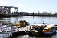 The riachuelo river in Buenos Aires. Buenos Aires, Argentina - August 22, 2018: Riachuelo river view located in La boca in Buenos Aires, Argentina stock photos