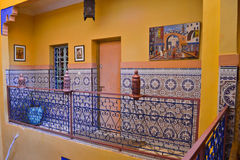 Riad in Marrakesh, Morocco. Detail from Riad in Marrakesh, Morocco. Riad  have authentic decorated rooms and offers a true Moroccan ambiance Stock Photo