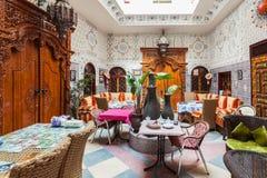 Riad in Marrakesh. MARRAKESH, MOROCCO - FEBRUARY 29, 2016: Riad in Marrakesh, Morocco. Riad is a traditional Moroccan house or palace with an interior garden or Stock Photos