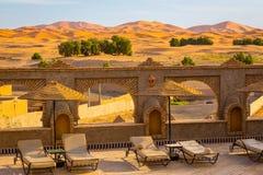 Riad terrace on the edge of the Sahara desert, Morocco Stock Photo