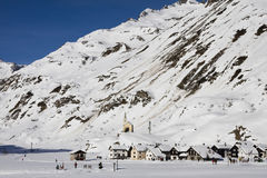 Riale: small village on the alps in winter Royalty Free Stock Photo
