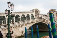Rialto桥梁的看法,威尼斯,威尼托,意大利 库存照片