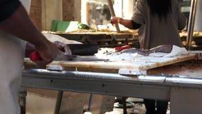 Rialto食品批发市场的场面在威尼斯(9 22) 影视素材