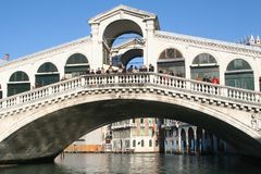 Rialto bridge. View of Venice - Italy (taken from a boat Royalty Free Stock Image