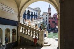 Rialto bridge by the arcade Royalty Free Stock Photos