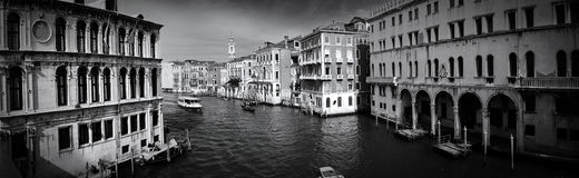 From the Rialto Bridge (B/W). A gorgeous panoramic photo From the Rialto Bridge looking north on the Grand Canal Royalty Free Stock Photo
