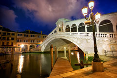 Rialto Bridge at dusk royalty free stock images