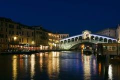Rialto bridge at dusk in Venice Stock Photos