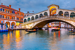Rialto Bridge at dusk Royalty Free Stock Image