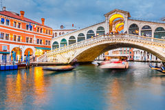 Rialto Bridge at dusk Stock Image