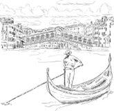 Rialto bridge with gondola Stock Image