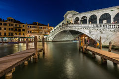 Rialto Bridge and Grand Canal in the Evening, Venice Stock Image