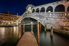 Rialto Bridge and Grand Canal in the Evening, Venice Stock Images