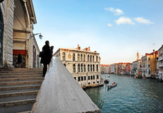 Rialto Bridge and Grand Canal in Venice royalty free stock image