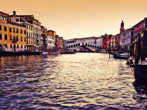 Rialto Bridge and Grand Canal, Venice Stock Photo