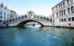 Rialto Bridge and Grand Canal in Venice Stock Photos
