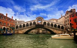Rialto bridge. In the Grand Canal of Venice Royalty Free Stock Images
