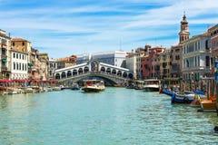 Rialto bridge and Grand Canal in Venice Stock Photography