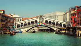 Rialto Bridge. Grand Canal in Venice Royalty Free Stock Photography