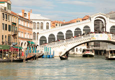 Rialto bridge on Grand Canal, Venice, Italy Stock Photography