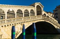Rialto bridge at Grand canal in Venice at sunny morning Stock Images