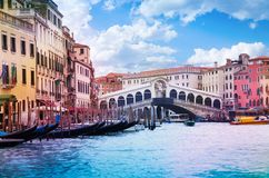 Rialto Bridge and grand canal Royalty Free Stock Photo