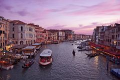Colorful sunset in Venice, Italy - view from Rialto Bridge royalty free stock images