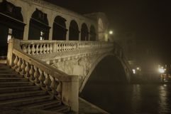 Rialto Bridge on a misty winters night Royalty Free Stock Photo