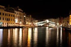 Rialto Bridge night lights. Rialto Bridge and Grand Canal in the night Stock Photography