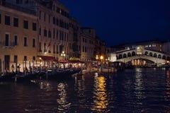Rialto bridge at night. Night shot of venice's rialto bridge on the grand canal Stock Photos