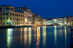 Rialto bridge at night, Venice, Italy royalty free stock photography