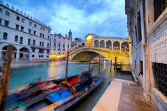 Rialto Bridge at Night, Venice, Italy Stock Images