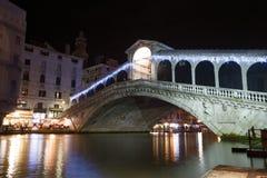 Rialto Bridge by night, Venice. Night view of Rialto Bridge in Venice, Italy Stock Photo