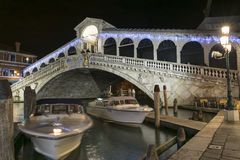 Rialto Bridge by night, Venice. Night view of Rialto Bridge in Venice, Italy royalty free stock images