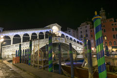 Rialto Bridge by night in Venice. Night view of Rialto Bridge in Venice, Italy Royalty Free Stock Images