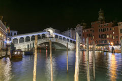 Rialto Bridge by night in Venice. Night view of Rialto Bridge in Venice, Italy stock image