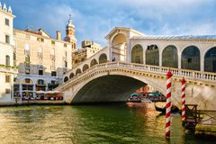 The Rialto Bridge over the Grand Canal in the city of Venice Royalty Free Stock Photography