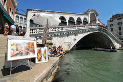 Rialto Bridge and paintings Royalty Free Stock Photo