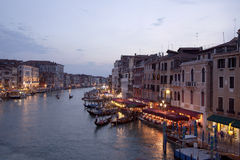 Rialto bridge sun set, venice, italy Stock Images