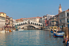 Rialto Bridge in Venice. Rialto Bridge over a Venetian Grand Canal. Most famous view Stock Image