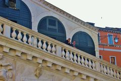 The Rialto bridge in Venice, Detail. Royalty Free Stock Images