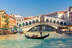 Rialto Bridge in Venice. Gondola near Rialto Bridge in Venice, Italy