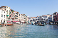 Rialto Bridge , Venice, Italy from the Grand Canal with a gondola Royalty Free Stock Photos
