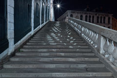 Rialto Bridge Venice Long exposure By Night. Royalty Free Stock Images