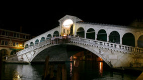 Rialto bridge in Venice by night Stock Photos