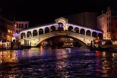 Rialto bridge in venice - night Stock Photo